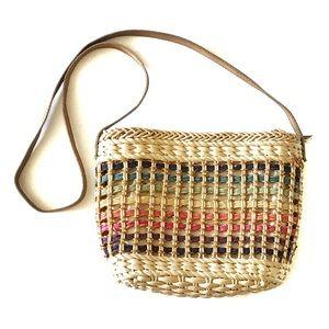 Vintage 90s Basketweave Multicolor Purse Handbag